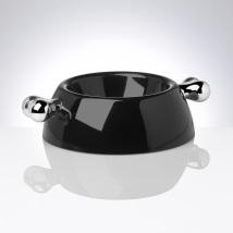 Black Melamin dog bowl w silver bones