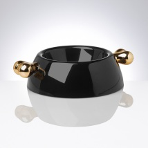 Black Melamin dog bowl w Golden bones