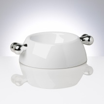 White Melamin dog bowl w Silver bones