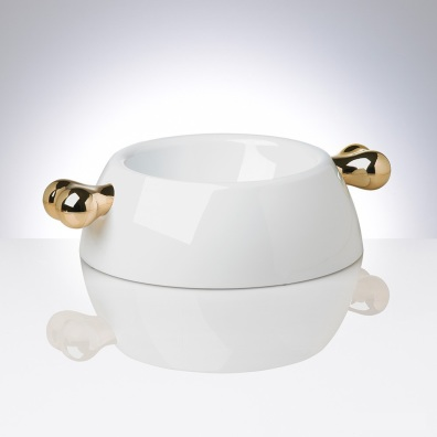 White Melamin dog bowl w golden bones