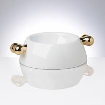 White Melamin dog bowl w golden bones