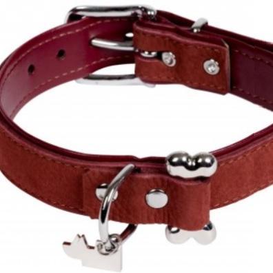 Aragon Suede Leather collar w bone - Burgundy