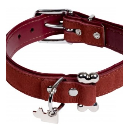 Aragon Suede Leather collar w bone - Burgundy