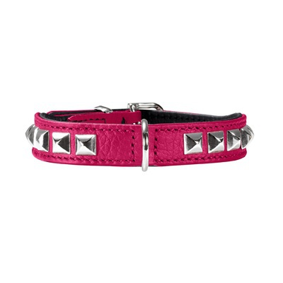 Necklace Nappa w soft studs - Pink