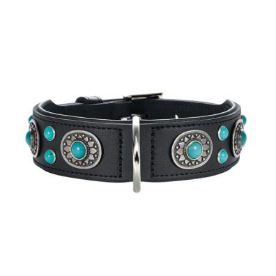 Black Leather Collar w Blue Stones