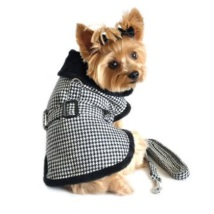 Elsa Light and Cozy Fleece Coat w leash - Houndstooth