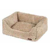 Beige Fur Dog Bed