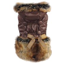 Elegant Fleece Coat w. Fur & Bow - Brown