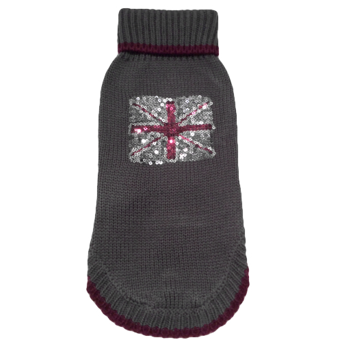 Britt Sweater w Glitter Flag - Grey