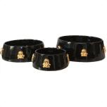 Handmade Ceramic Bowl w. Gold Plated Skulls - Black
