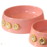 Handmade Ceramic Bowl w. Gold Plated Flowers - Soft Pink