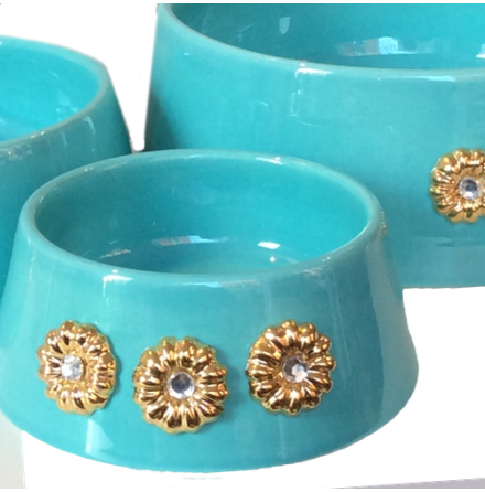 Handmade Ceramic Bowl w. Gold Plated Flowers - Turquoise