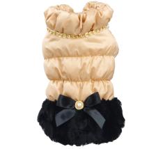 Fabulous Winter coat w Chain Fur and Fleece inside - Beige/Black