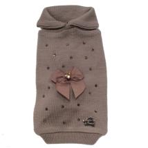 Beige Wool/Cashmere Sweater w Diamonds & Bow