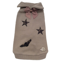 Beige Wool/Cashmere Sweater w Camo Stars and Wing