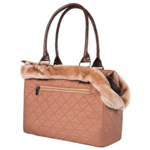 Beige Bag w. removable fur 35x27x17