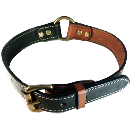 Leather Collar Brass Black/Tan