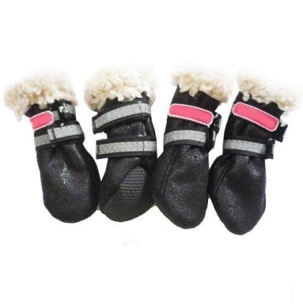 Boots w soft fur inside - Black 4 Pcs