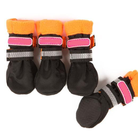 Boots w fleece inside - Black/Orange 4 Pcs