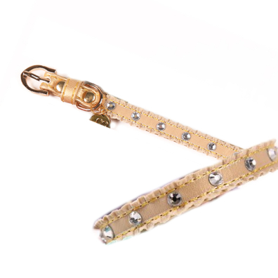Collar/Leash Set Teramo w Diamonds - Gold