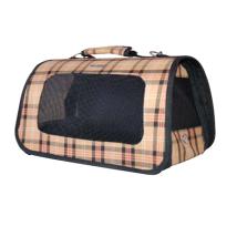 Bologna Travel bag w beige plaid pattern