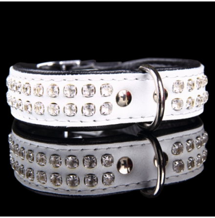 Leather Collar with Rhinestones 2 row - White