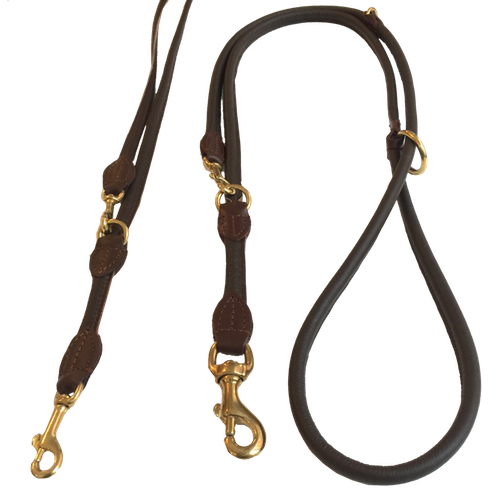 Round Adjustable Leash Brass Buckle - Brown