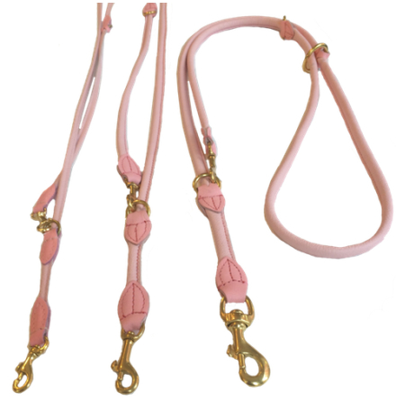Round Adjustable Leash Brass Buckle - Pink