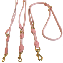 Round Ajustable Leash Brass Buckle - Pink