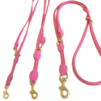 Round Ajustable Leash Brass Buckle - Dark Pink