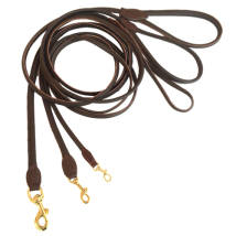 Round Leash w Brass Buckle - Brown