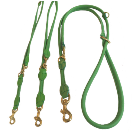 Round Adjustable Leash Brass Buckle - Green