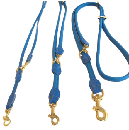 Round Adjustable Leash Brass Buckle - Blue