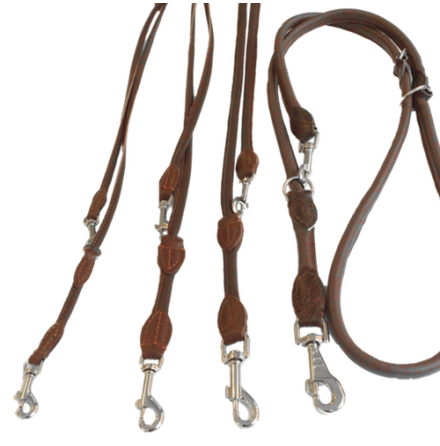 Round Adjustable Leash - Brown