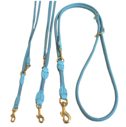 Round Adjustable Leash Brass Buckle - Baby Blue