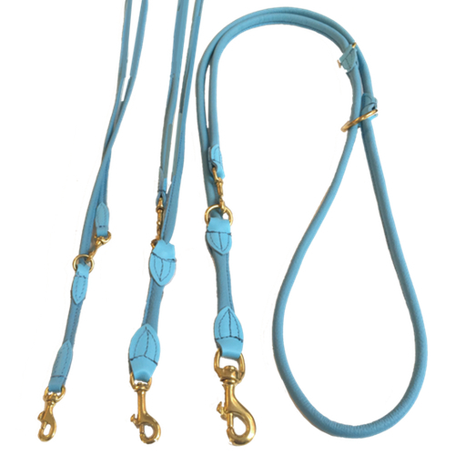 Round Adjustable Leash Brass Buckle - Baby Blue
