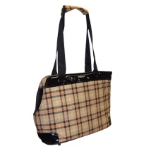 Dog handbag w. beige plaid pattern