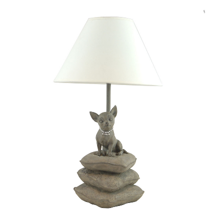 Lamp w Chihuahua and white lamp-shade H:42cm