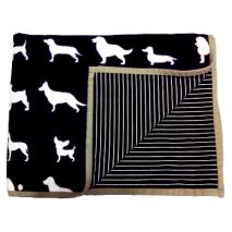 Fleece Blanket w Dog Print - Black 170x130cm