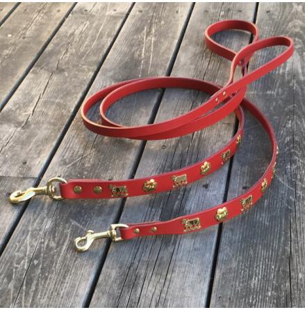 Genuine Alp Leash w Brass Buckle - Red