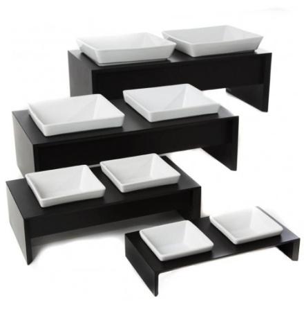 Maebashi Double Bowl Wooden Table - Black