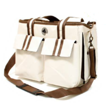 Sporty Canvas Bag - Cream/Brown 41x21x31cm