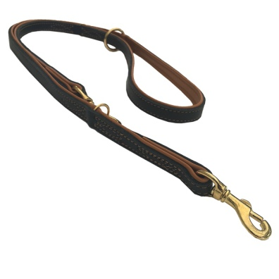 Nordic Elk Leather Adjustable Leash - Black/Tan L:200 W:25mm