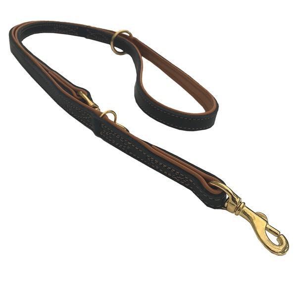 Nordic Elk Leather Adjustable Leash - Black/Tan L:200 W:25mm