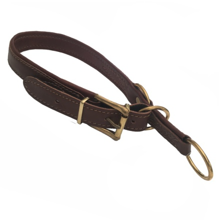 Nordic Elk Leather Adjust. Half Check Collar Brass - Brown