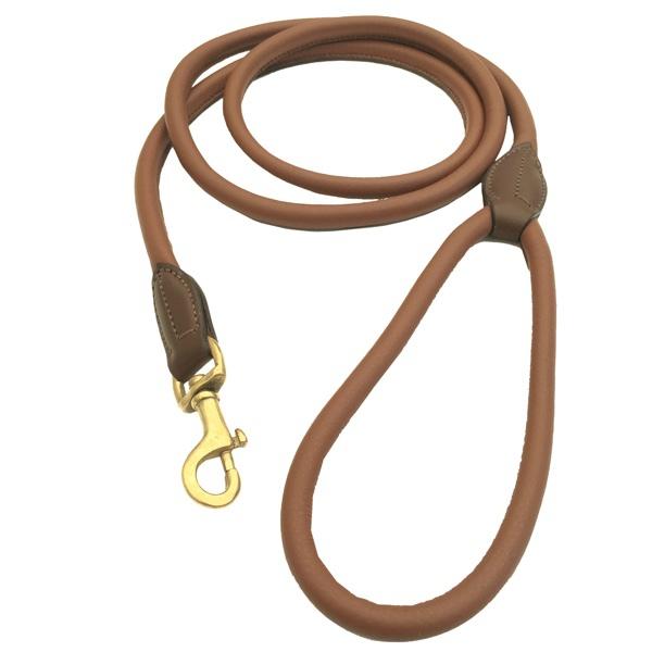 Carmel Leather Leash Round Brass - Brown