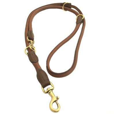 Carmel Leather Leash Round Adjust. Brass - Brown