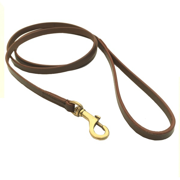 Chelsea Leather Leash Flat Brass - Brown