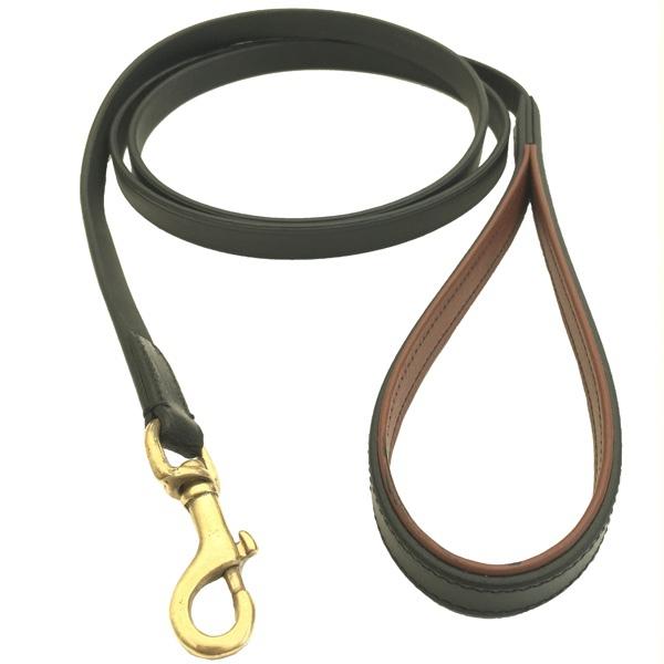 Chelsea Leather Leash Flat Brass - Black/Brown