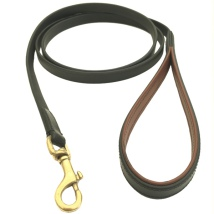 Chelsea Leather Leash Flat Brass - Black/Brown